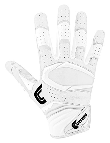 Cutters Gloves S451 Rev Pro 2.0 Receiver Safety Cornerback Gloves With C-Tack Grip, WHITE, Adult L