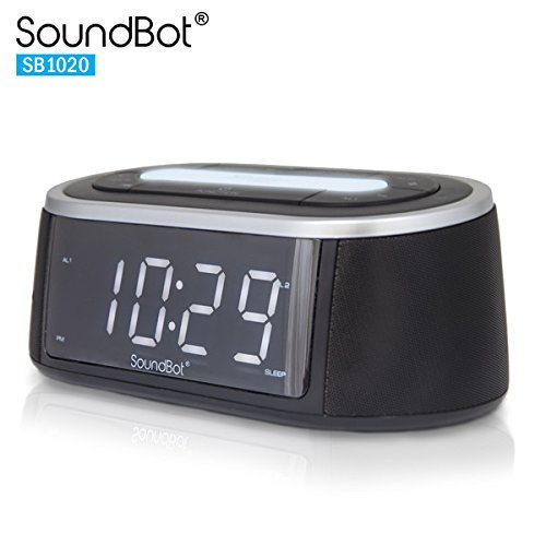SoundBot SB1020 FM RADIO Bluetooth Wireless Speaker & Dual Alarm Clock for Music Streaming w/FM Tuner, 2.1A USB Charging Output, 3.5mm AUX Line-In, LED Night Light