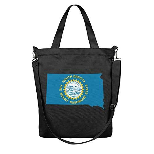 Women Tote Craft Bag Large Capacity Reusable Grocery Shopping Bag Flag And Map Of South Dakota Body Handbag Atural Work Shoulder Bag Foldaway Travel Beach Tote Duck Bag School Crossbody Bag