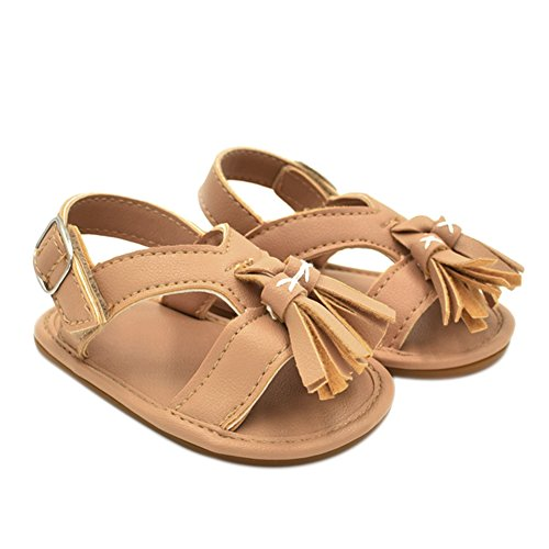 Summer Baby Kids Sandals Shoes Unisex Baby Crib Shoes Sneakers Tassels Soft Soled (Chocolate, 01) ()