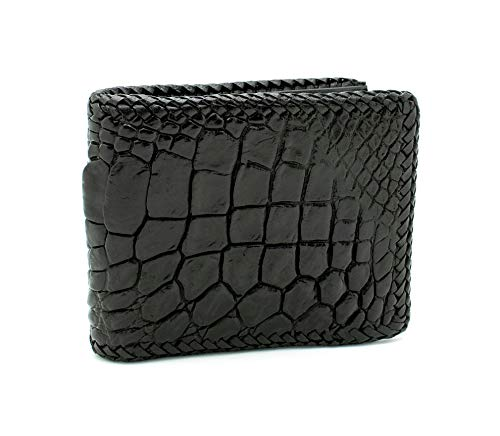 D'SHARK Luxury Crocodile Skin Leather Bi-fold Short Wallet (Black)