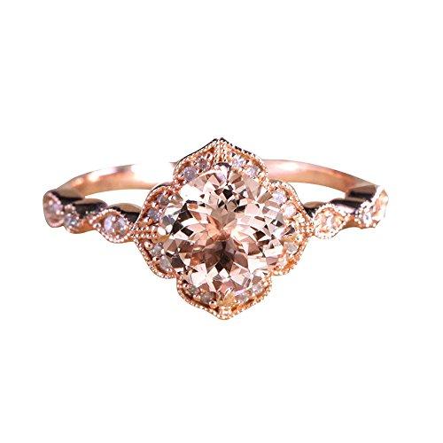 Flower Rhinestone Ring Fashion (Wintefei Fashion Flower Rhinestone Finger Ring Women Wedding Engagement Jewelry Gift - Rose Gold US 7)