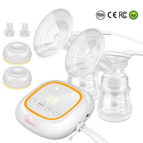 Electric Breast Pump, Portable Breastfeeding Pump with 4 Modes and 16 Adjustable Suction Levels Breast Massage Ultra-Quiet Memory Function, BPA Free and Hospital Grade, Double