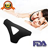 Anti Snoring Chin Strap - Best Stop Snoring Device - Adjustable Snore Reduction Straps - Sleep Aids Solution for Men Women Kids (blacktriangle)
