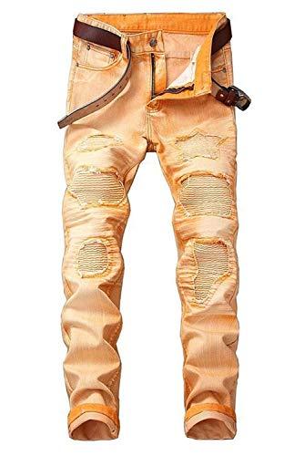 2018 Jeans Da Strappati Elasticizzati Uomo Denim Mode Di Marca Slim Fit Arancia