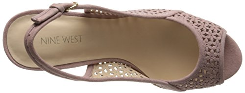 Nine West Women's Axey Suede Wedge Sandal Pink eb6F7