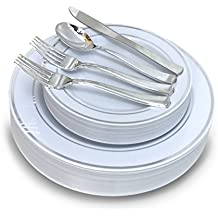 """ OCCASIONS "" 150 Piece set / 25 guest - Wedding Plastic Plates & cutlery - Disposable heavyweight dinnerware 10.5'', 7.5'' + Silverware w/ double fork (White w/ Silver Rim)"