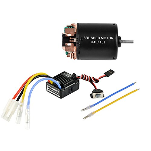Jrelecs 540 13T 4 Poles Brushed Motor and WP-1060-RTR 60A Waterproof Brushed ESC Electronic Speed Controller with 5V/2A BEC for Axial RC4WD CROSS HPI MIST GMADE D90 D110 TF2 SCX10 (Esc Radio)