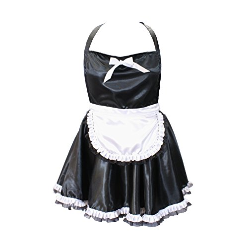 French Maid Apron | A Sexy Apron in Black Satin with White Bow Tie and Lace | Cute Aprons by Tipsy Totes | Lingerie Apron, Valentine's Day Surprise, French Maid Aprons for Women (Plus Size)