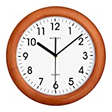 Cheap KAMEISHI 12-inch Wooden Wall Clocks Battery Operated Non-Ticking Quiet Sweep Second Silent Round Simple For Living Room Kitchen Bedroom Large Numbers Quartz Wall Clock Decorative KSW236U Brown