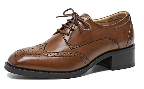 (U-lite Womens Classic Leather Round-Toe 3.8 cm Block Heel Oxford Vintage Brouge Shoes Brown-38)