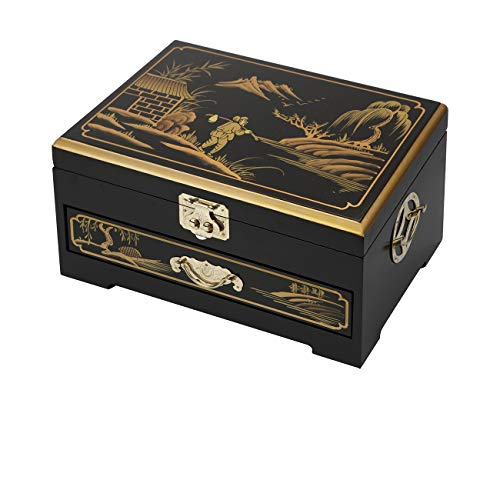 Hand Painted Wood Jewelry - Surely Oriental Wood Jewelry Box/Case/Storage with Black Lacquer by Hand Painted