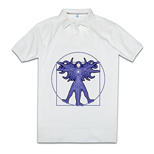 MAC Female Angel Wings Men Solid Pique Polo Tee White Size (Htc Wing Solid Case)