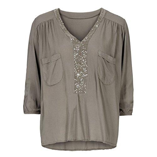 Damen Casual Lose Einfarbig Hemd Stitch Pailletten Glitzer Blusen 3/4-Arm T-shirt V-Ausschnitt Doppelt Pockets Tops (L, Dunkelgrün)
