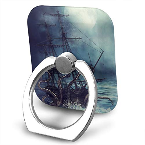 Personalized Pirate Ship Octopus Phone Ring Stand Holder Cell Finger Stand Grip Kickstand 360Degree Rotation Mount Universal Smartphone Kickstand ()