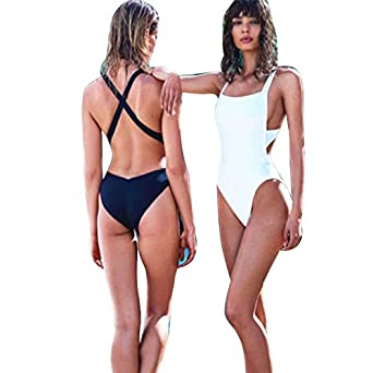 49ad5e2bc2d Amazon.com: Sunward Women Fashion Sexy One Piece Solid Backless ...