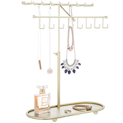 MyGift Gold-Tone 2-Tier Adjustable-Height Necklace & Bracelet Stand with Ring Tray -