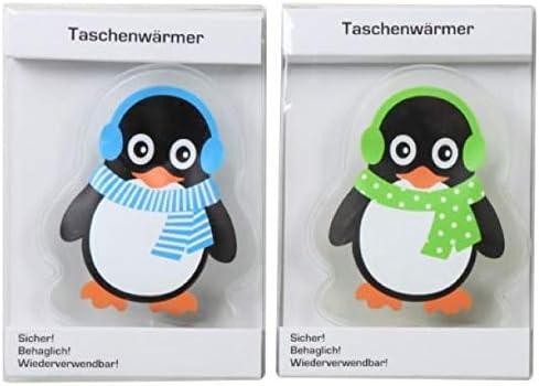 Hs24store 2 St/ück Taschenw/ärmer Handw/ärmer Motiv Pinguin gr/ün blau