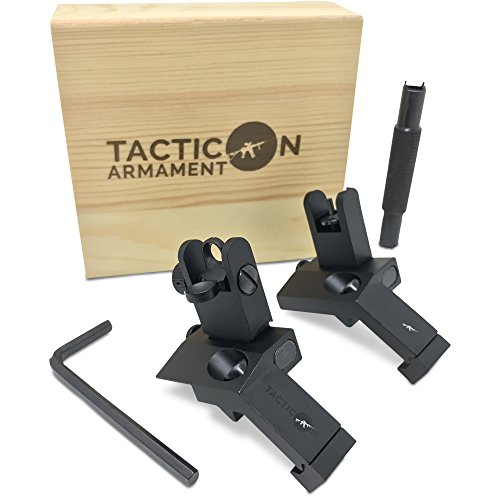 TACTICON 45 Degree Offset Flip Up Iron Sights for Rifle Includes Front Sight Adjustment Tool | Rapid Transition Backup Front and Rear Iron Sight BUIS Set Picatinny Rail and Weaver Rails -
