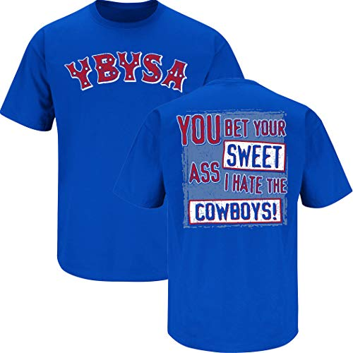 Nalie Sports New York Fans - Balón de fútbol Ybysa (You Bet Your Sweet Ass I Hate The Cowboys) Playera Azul (Sm-5X), Azul...