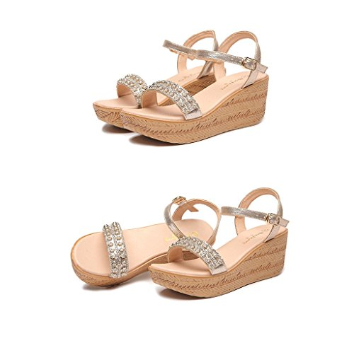 Color Elegant Size Sandals Thick Gold 35 Sandals Women Ankle Style Gold Bohemian Shoes Wedges vaZqvfw4Wp