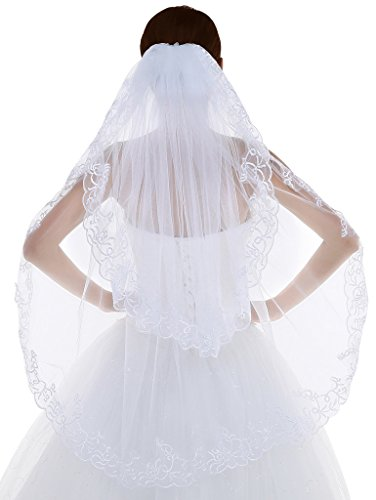 Edith qi Women's 2T 2 Tiers Elegent Lace Appliques Wedding Veil With Comb