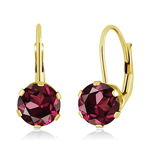 Gem Stone King 2.00 Ct Round Red Rhodolite Garnet 14K Yellow Gold Earrings