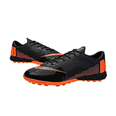 iFANS Men Athletic Outdoor Comfortable Soccer Shoes Boys Football Student Cleats Sneaker Shoes Black Size: 6.5