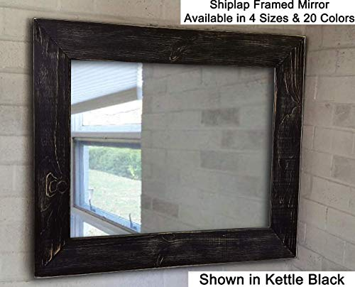 (Shiplap Large Wooden Framed Mirror Available in 4 Sizes and 20 Colors: Shown in Kettle Black Paint - Large Wall Mirror - Rustic Barnwood Style - 24 x 30-36 x 30-42 x 30-60 x 30 Inches )