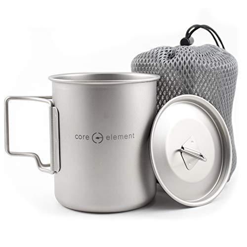 Core Element Dual Purpose Camping Mug or Pot with Lid - 100% Titanium 450 ml / 15 oz Suitable for Open Fire Direct Flame (3.25 L X 3.25 W X 3.8 H Inches) - Folding Handles - Space Saver - Easy Clean