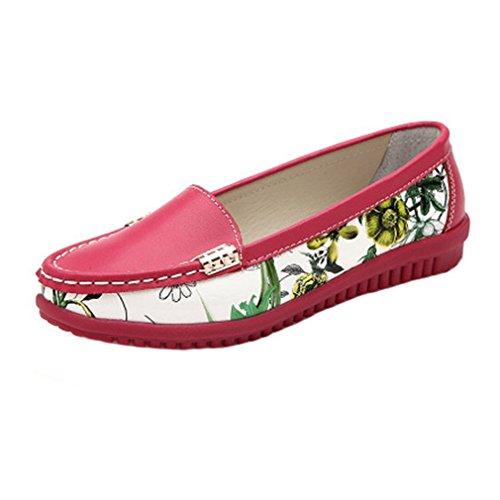Giy Womens Classic Penny Mocassini Flat Mocassino Punta Rotonda Slip-on Floreale Casual Dress Mocassino Oxford Scarpa Rose Red