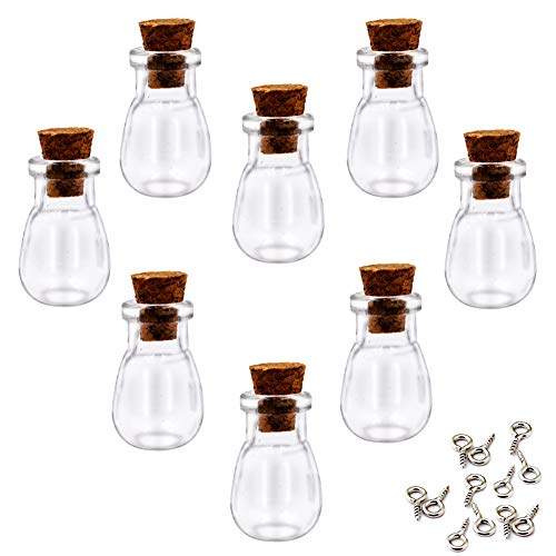(LEFV 24Pcs Mini Glass Bottles with Cork Stoppers - 1 Inch Small Tiny Vials Jars Wishing Message Bottles Decorative Charms Necklace Pendant for Party Favors (Waterdrop))