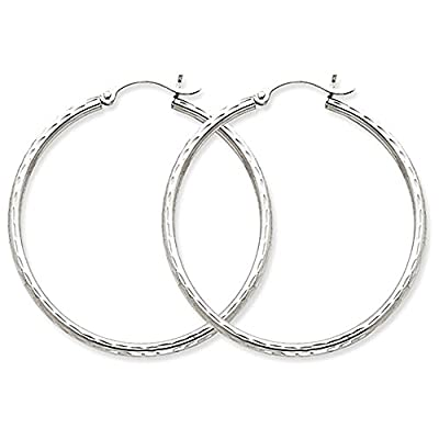 14k White Gold Diamond-Cut Hoop Earrings, (2mm Tube) from pf