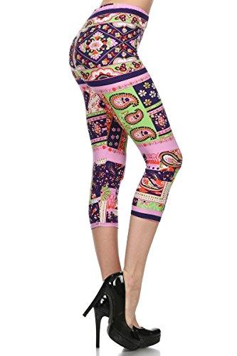 (Conceited Super Soft High Waisted Printed Capri Leggings for Women - Capri Bright Bulbs - One Size (0-12))