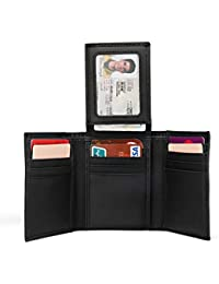 Wallet for Men,Genuine Leather RFID Blocking Trifold Stylish Wallet With 2 ID Windows