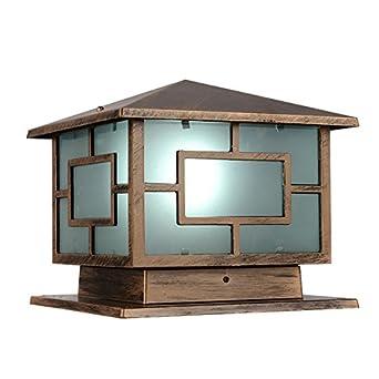 Homestia Premium Bronze Aluminum Glass Outdoor Post Cap Light 9 85 9 85 Pillar Lighting Fixture 1 Light