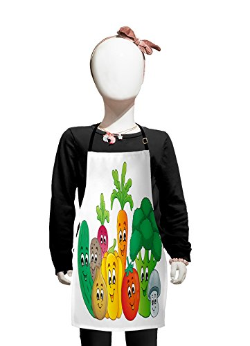 (Lunarable Colorful Kids Apron, Cheerful Vegetables Design Carrot Bell Pepper Turnip Broccoli and Tomato Pattern, Boys Girls Apron Bib with Adjustable Ties for Cooking Baking and Painting, Multicolor)