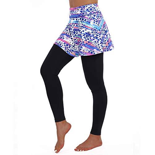 ANIVIVO Skirted Leggings Long Pants for Women, Capri Tennis Skirted Leggings with Colorful Skorts Pants& Women Tennis Skirted Pants Women Tennis Clothing (Color-Length,M)