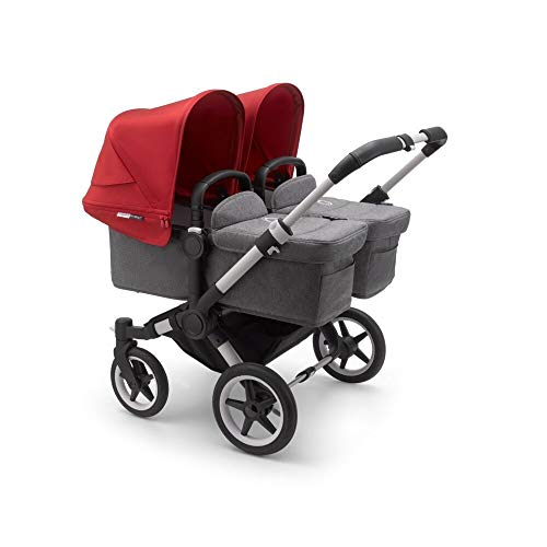 Bugaboo Donkey3 Twin Stroller – Grey Mélange/Red – (Mono, Duo and Twin Sets Included)