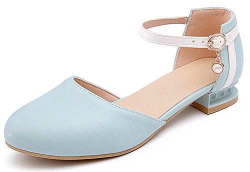 IDIFU Womens Stylish Ankle Strap Block Low Heel Round Toe Bridal Pumps With Pendants Blue H7I8P