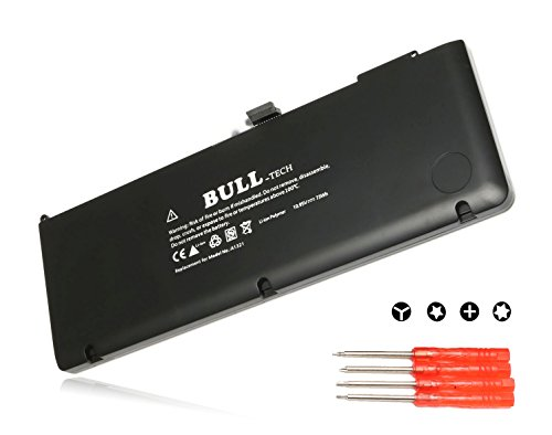 BULL Replacement New Laptop Battery for Apple A1321 A1286 (Only for Mid 2009 2010 version) , fits MB985 MB986J/A MC118 Unibody MacBook Pro 15'' [Li-Polymer 10.95V / 73Wh] with four Free Screwdrivers Mc118ll/a Macbook Pro