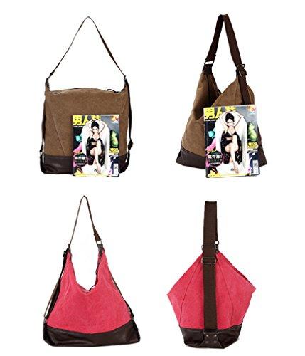 Super moderno lienzo bolsa de hombro portátil bolsa Hobo bolsa casual Crossbody Messenger Bag Bolsa de deporte para mujer weekener bolsa, hombre mujer, marrón rojo