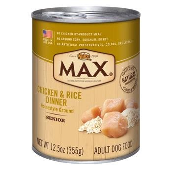 Nutro MAX Senior Dog Chicken and Rice Dinner Canned Food (Pack of 12, 12.5 oz each)