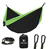 pys Double Portable Camping Hammock with Strap -Nylon Parachute Hammock with Tree Straps Set with Max 1200 lbs Breaking Capacity, for Backpacking, Camping, Hiking, Travel