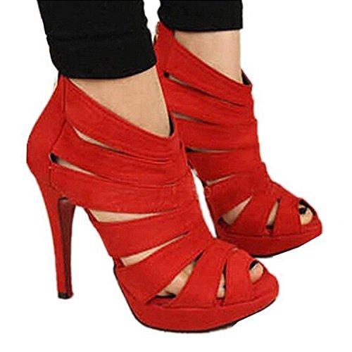 Scarpe Club Rosso Con Donna Di Party Minetom Alto Sexy Sandali D'estate Tacco Da Nozze Aperta Punta wYxZq78U