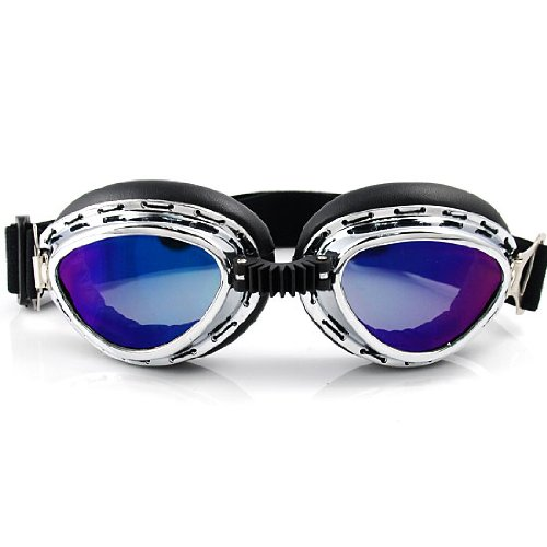 [Steampunk Cyber Punk Goth Style Aviator Pilot Mini Size Chrome Plated Frame Rainbow Lens Elastic Strap Padded Frost UV Goggles Eyewear Sunglasses Costume Helmet Trim Decorative Mask Tactical] (Costumes By Dusty)
