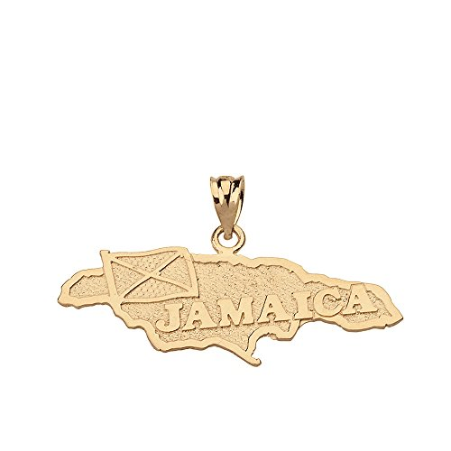 Jamaica Country Map Charm Pendant in 14k Yellow Gold
