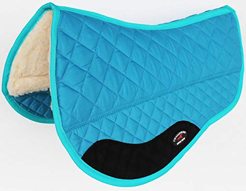 CHALLENGER Western Horse Saddle PAD 28″ X 38″ Double Barrel Fleece Lined Turquoise 39110