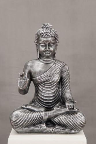 Buda Thai Buda Plata Hierro aspecto Medi Animales Meditación Ruhe Fuerza Jardín Decoración Exterior heladas: Amazon.es: Jardín