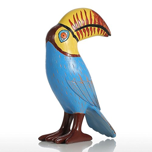 Tooart Resin Bird Figurine, Big Mouth Toucan Bird Fiberglass Ornament Statue Abstract Art Figurine for Home Office Decor